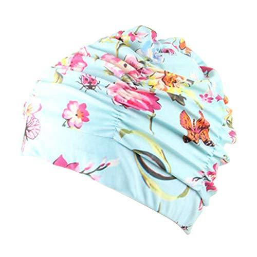 Ganquer Moda Mujer Plisado Piscina Estampado Flores Adulto Baño Cabello Largo Gorro de Natación - Mariposa
