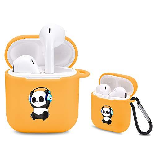 Idocolors Funda para Airpods Lindo Panda Compatible con Airpods 1/2 Case TPU [Funciona con Carga inalámbrica] Carcasa para Airpods