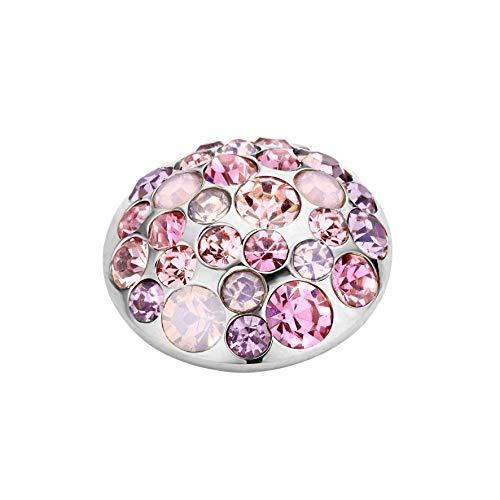 MelanO Vivid Ringaufsatz Anemonen - Form Edelstahl mit Zirkonia in Farbe Rosa 11 mm VM16