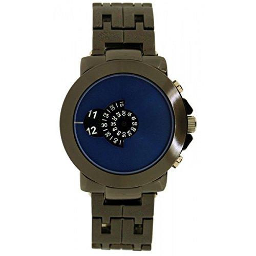 Softech Männer \'\' s Gun schwarz blau Gesicht Jump Stunde Disk Display Wrist Watch Analog Quarz zusätzlichen Akku