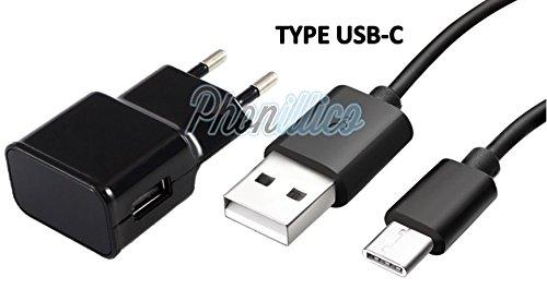 Phonillico kabel USB-C + lader voor Samsung Galaxy A3 2017, oplaadkabel, USB-C-aansluiting, oplader, synchronisatie, data-meting, 1 m, oplader, wandcontactdoos