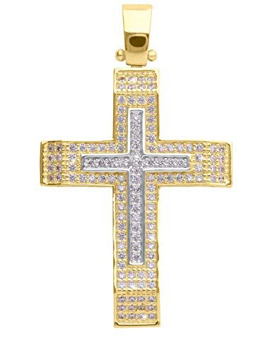 MyGold Kreuz Anhänger (Ohne Kette) Gelbgold Weißgold Weissgold 585 Gold (14 Karat) Mit 134 Zirkonia 35mm x 21mm Goldkreuz Goldanhänger Bliff V0013096