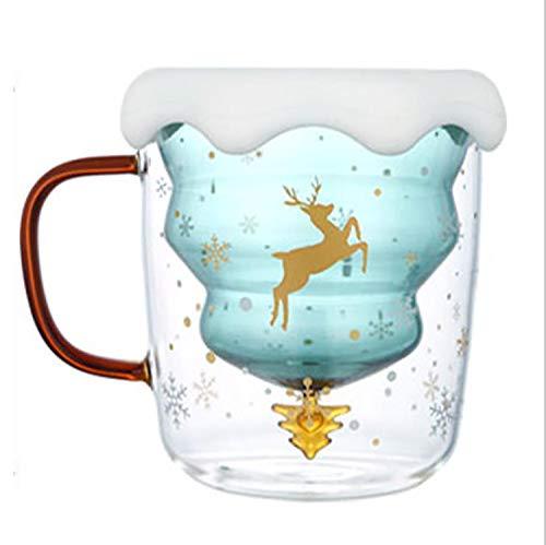 Alto Borosilicato Árbol De Navidad Doble Vaso Agua Vaso Lindo Creativo Calor Aislamiento Anti-Quemaduras Pide Un Deseo Vaso Hogar Desayuno Vaso 300 Ml