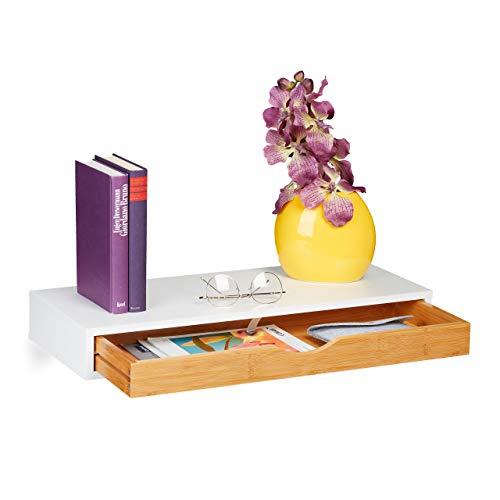 Relaxdays Wandregal mit Schublade, HxBxT: 8 x 60 x 24 cm, Wandschublade skandinavisches Design, MDF, Bambus, weiß/Natur