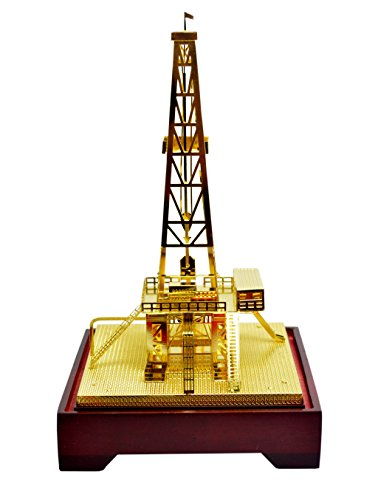 New Copper Oilfield Oil Well Derrick Drill Rig Gold Color Model Commemorative Edition