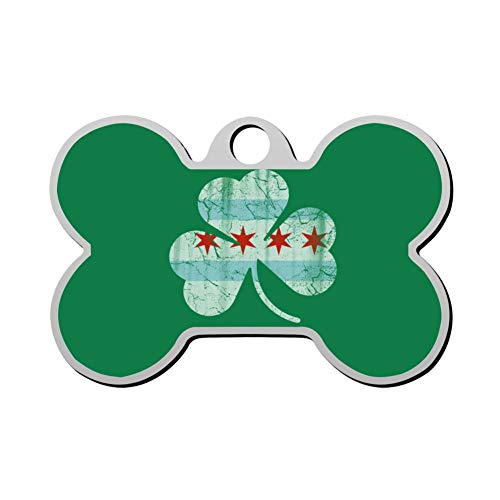 Reiligh Pet ID Tag Irish Chicago Flag Shamrock Personalized Bone Shaped Dog Tags & Cat Tags Identity with Double Sided Printed - DIY Custom