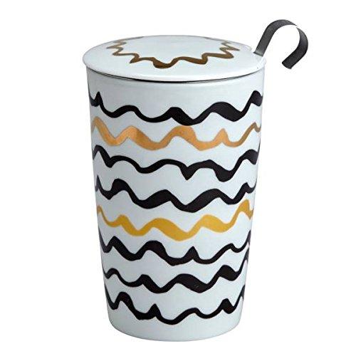 Teaeve® Teetasse, Becher mit Sieb und Deckel LUX LINE schwarz weiß Gold Eigenart