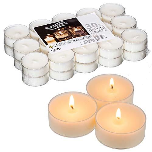 Smart Planet® Kerzen Ambiente - 30 Teelichter Set Weiss - Teelicht in transparenter Kunststoff Hülle durchsichtig - Kerze mit Langer Brenndauer