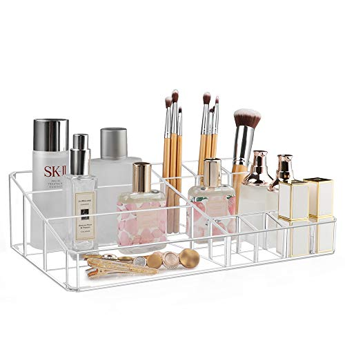 Kootek Clear Makeup Organizer Storage Box Thick Plastic Organizer Tray 11-Compartment Comestics Counter Organization Holder for Brush, Jewelry, Beauty Supplies