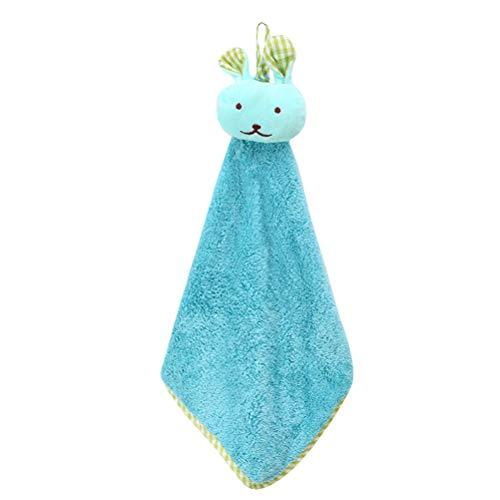OUNONA Nursery Hand Serviette en Peluche Cartoon Lapin Hanging Wipe Belles d¨¦barbouillettes (Bleu)