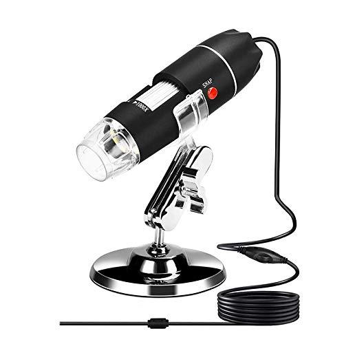 KANJJ-YU Microscopio USB Digital Microscopio 40X-1000X Cámara de microscopio de mano para estudiantes, ingenieros, biología, observación microbiológica (color: negro)