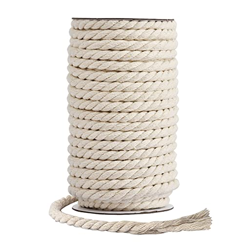 Hdviai Macrame Rope - Natural Unbleached Cotton Rope - 3 Strand Twisted Cotton Cord for Wall Hanging,DIY Craft Making,Plant Hangers,Knotting Decorative Projects (8mm x 20 Yards)
