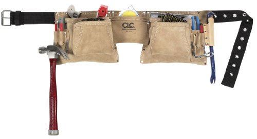 CLC Custom Leathercraft 527X Heavy Duty Top Grain Suede Construction Work Apron, 2 Hammer...
