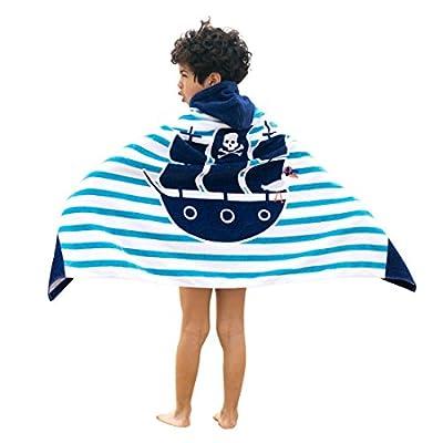 Artown Kids Bath Towel, Ultra Soft Hooded Poncho Swim Pool Beach with Cute Animal for Boys Girls - 100% Organic Cotton Bathrobes