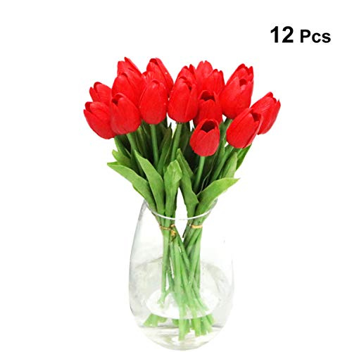TOYANDONA Doce artefactos Artificiales PU tocan los Tulipanes,Oficina de Bodas,Ramos de Flores,Fiesta de Bodas,12 Adornos Rojos.