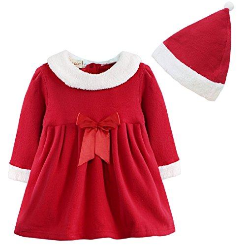 iEFiEL Vestito Natalizio Neonata Costume da Babbo Natale Bambina Vestito Rosso Cappello Rosso Set Completo di Natale Vestitino Inverno Autunno Abito di Natale Elegante Rosso 12-18 Mesi
