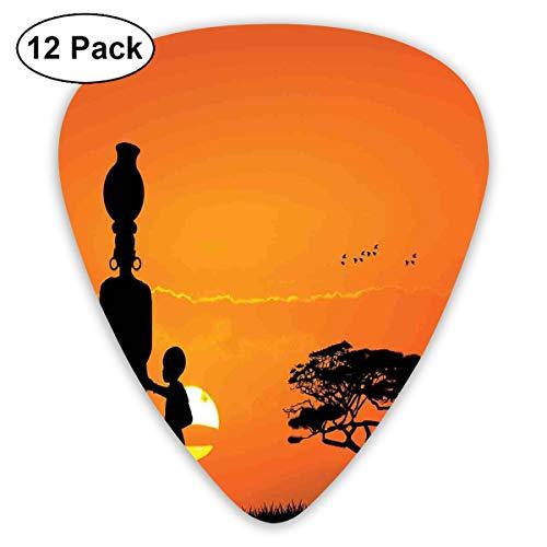 Guitar Picks12pcs Plectrum (0.46mm-0.96mm), Child And Mother At Sunset Walking In Savannah Desert Dawn Kenya Nature Image,For Your Guitar or Ukulele