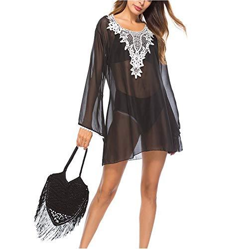 Heqianqian - Vestido de playa para mujer con borla de gasa, poliéster, negro, X-Large