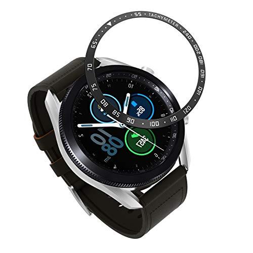 MoKo Anillo Protector de Reloj, Compatible con Samsung Galaxy Watch 3 45mm, Acero Inoxidable Resistente a Arañazos, Escala Digital para Proteger la Caja - Negro con Letras Platas