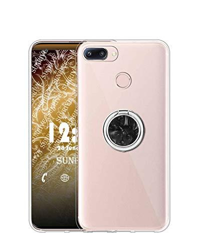 Sunrive Kompatibel mit Nubia Z11 Mini Hülle Silikon, Transparent Handyhülle 360°drehbarer Ständer Ring Fingerhalter Fingerhalterung Schutzhülle Etui Hülle(Schwarz) MEHRWEG