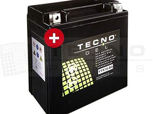 TECNO-GEL Motorrad-Batterie YTX16-BS für KAWASAKI ZR 1100 ZEPHYR 1992-1997, 12V Gel-Batterie 14Ah (DIN 51490), 150x87x161 mm inkl. Pfand
