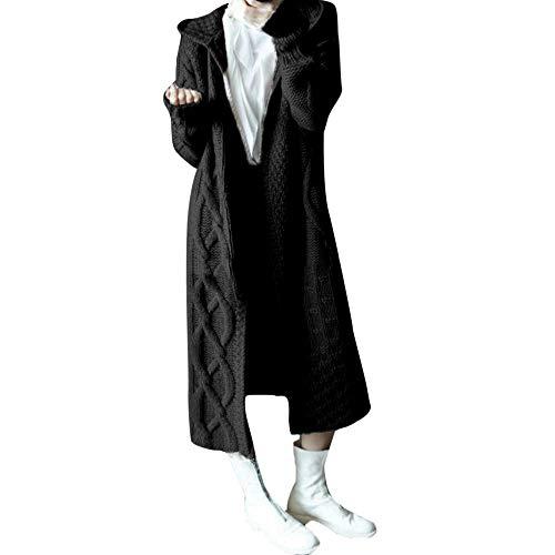 MEIbax Damen Winterjacke Gestrickte Strickjacke Outwear Lange Verdicken Cardigan Wollmantel Wintermantel Trenchcoat