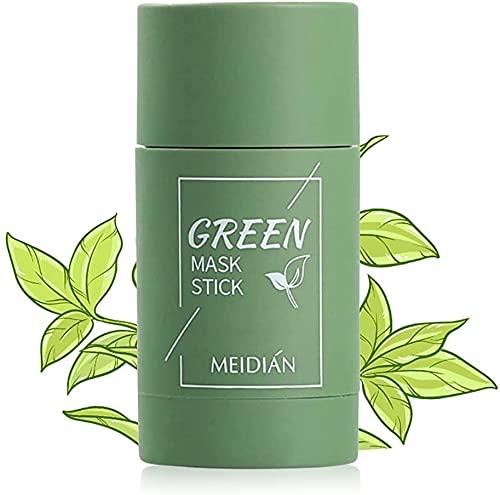 BDL Grüner Tee Purifying Clay Stick Mask, Deep Cleansing Anti-Akne-Maske Fine Solid Mask, Green Tea Clay Mask, Auberginen Mitesserentferner Gesichtsmaske Poren schrumpfen (1 X Grün)