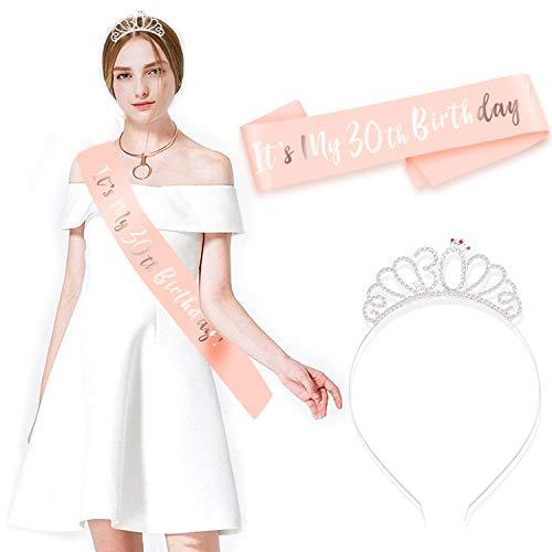 HOWAF Buon 30 Anni Compleanno Fascia e Compleanno 30 Anni Tiara cerchietti per Oro Rosa 30 Anni Compleanno Decorazioni Donna Regalo di Compleanno