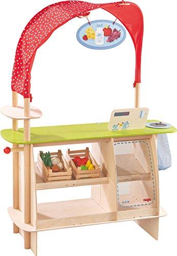 Haba 302087 - Koerwinkel winkelplek, winkelmandje en ijsplanken van hout, verkoopstand met kassa, houten stijlen met 22 delen, speelgoed vanaf 3 jaar
