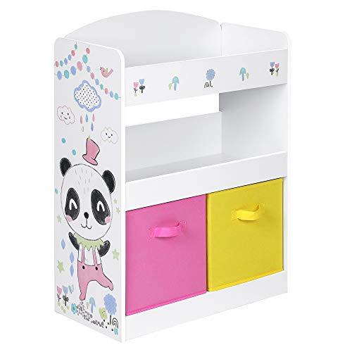 SONGMICS Kinderregal, Bücherregal, Spielzeugregal, Spielzeug-Organizer, 2 multifunktionale Aufbewahrungsboxen, Ablage, für Kinderzimmer, Spielzimmer, Kindergarten, weiß, pink und gelb GKR310W01