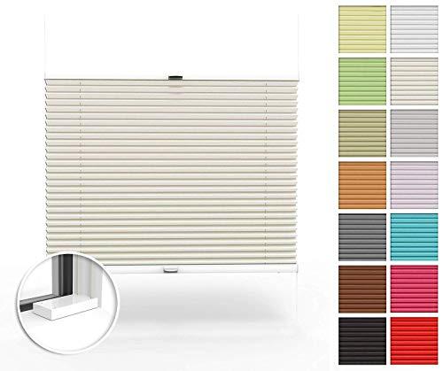 Home-Vision® Premium Plissee nach Maß, zum Anschrauben in der Glasleiste Innenrahmen Blickdicht Jalousie mit Halterungen zum Bohren, Verschiedene Profilfarben (Creme, B41-50cm x H40-100cm)