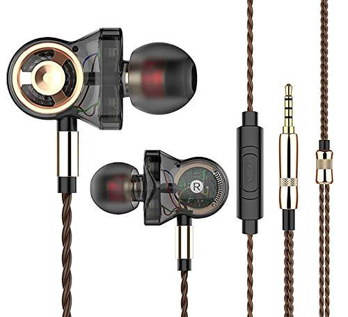 QKZ CK10 - Auriculares in-ear de alta fidelidad con micrófono de alta definición, sonido prémium con subwoofer Deep Bass - Driver de 6 aumentos