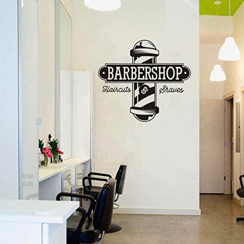 Vinyl Sticker Haircuts and Shaves Wall Decal Hairdresser Barbershop Logo Window Wall Mural Hair product image