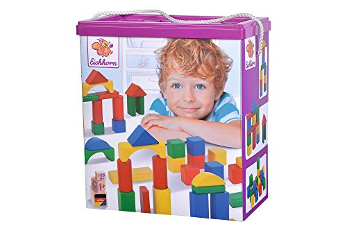 Eichhorn 100010171 100 bunte Holzbausteine in der Aufbewahrungsbox mit Kordel und Sortierdeckel, für Kinder ab 1...