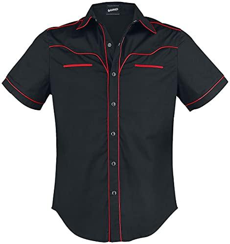 Banned Alternative Plain Trim Männer Kurzarmhemd schwarz/rot S