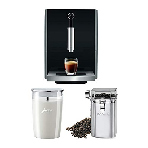 For Sale! Jura A1 Ultra Compact Coffee Center 15148 with PEP, Piano Black, Includes Glass Milk Container and Bean Canister Bundle (3 Items)