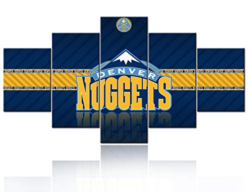 TUMOVO - Lienzo grande con impresión de Denver Nuggets Logo Imágenes para arte de pared, 5 piezas de lona de baloncesto, decoración...