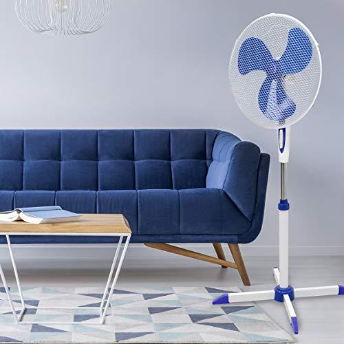 ECD Germany Ventilador de Pie 45W Ø40cm Blanco-Azul Silencioso 3 Niveles de Velocidad Pedestal Altura Ajustable 102-120cm Oscilación de 90 ° 30 ° Inclinable - Enfriador Giratorio Aerodinámico de Piso