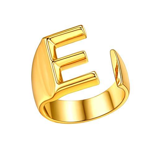 FindChic Anillo de Nombre Inicial E Anillo de Oro bañado con Ajuste Flexible