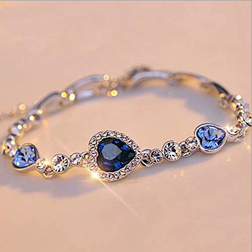 Ladies Silver Lovely Crystal Heart Shape Pendant Bracelet Lucky Gemstone Chain Plain Bracelet Jewellry Decoration for Women Girl