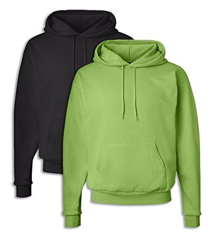 P170 Herren EcoSmart Kapuzen Sweatshirt Large 1 Schwarz + 1 Lime