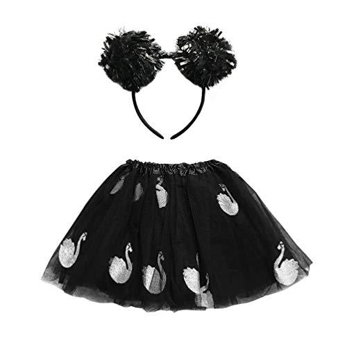 Geen 2 stks Meisjes Pettiskirt Vintage Tutu Rok Set met Haar Hoop Dans Jurk voor Feesten Kostuum Tonen Stage Cosplay