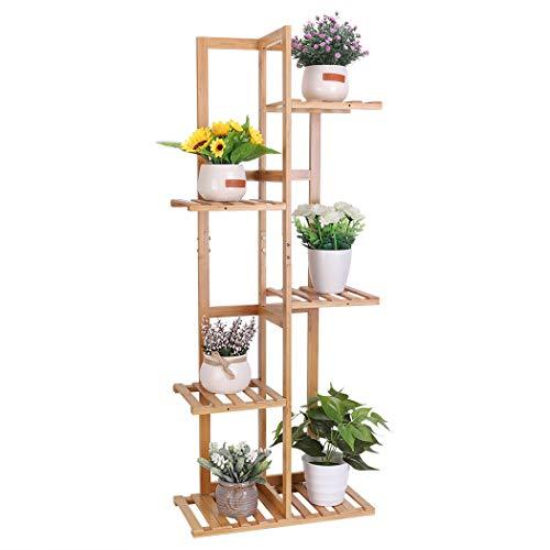 Medla Blumenregal aus Bambus, Blumentreppe 6 Ablagen, stehendes Pflanzenregal Gartenregal, für Wohnzimmer Balkon Garten Indoor Outdoor, 40x20x102cm