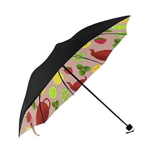 Kettle Hand Drawn Vintage Flowers Compact Travel Umbrella Sun Parasol Anti Uv Foldable Umbrellas(underside Printing) As Best Present For Women Sun Uv Protection