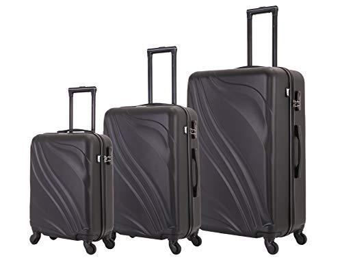 ZIFEL French World – Juego de 3 Fundas rígidas y Resistentes para equipajes, 50 cm, 60 cm, 70 cm, Color Negro