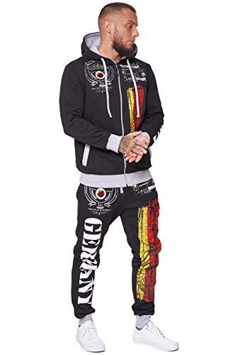 Violento Deutschland Herren Jogging Anzug Jacke Sport Hose Fitness Hoodie Hose Schwarz M