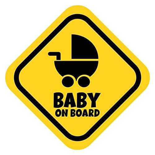 K006   Baby on Board Aufkleber Babyautoaufkleber Auto Sticker Babyaufkleber Autoaufkleber Vinyl Baby on Board Tiere (V2 Kinderwagen, Goldgelb)