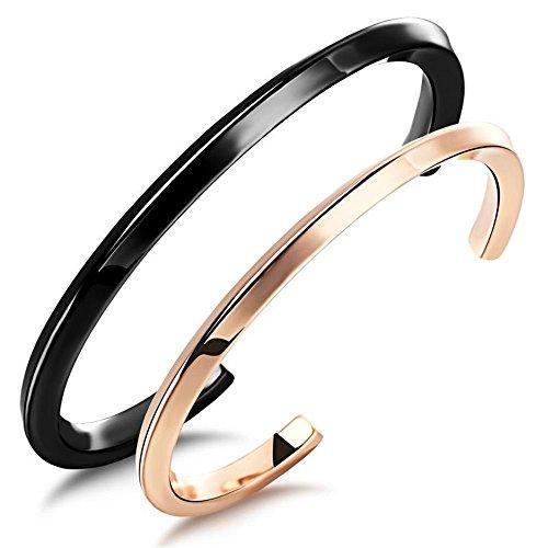 ユニーク(Unique) バングル ペア ブレスレット カップル シンプル メンズ レディース カップルック2点セット チタン ステンレススチール 腕輪 腕飾り ご褒美 ローズゴールド ブラック