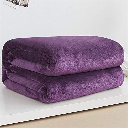 Csjunjie Heimtextilien Flanell Decke rosa super warme weiche Decken werfen auf Schlafsofa Flugzeug Travel Patchwork solide Tagesdecke, lila1.150x200