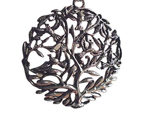 medallón talla plata Celtic Tree of Life colgante collar 64 mm altura y 57 mm diámetro, plata 925. Cadena de plata de 27 pulgadas, fabricada en EE. UU., KEY WEST GYPSY1999, nueva con etiqueta, 10 año